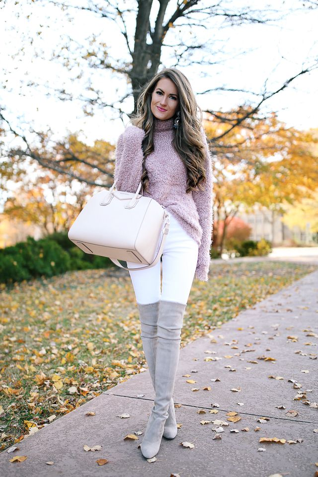 Stuart Weitzman highland boots , high quality dupes HERE  & HERE  fuzzy eyelash sweater (less than $50) // Givenchy Ant...