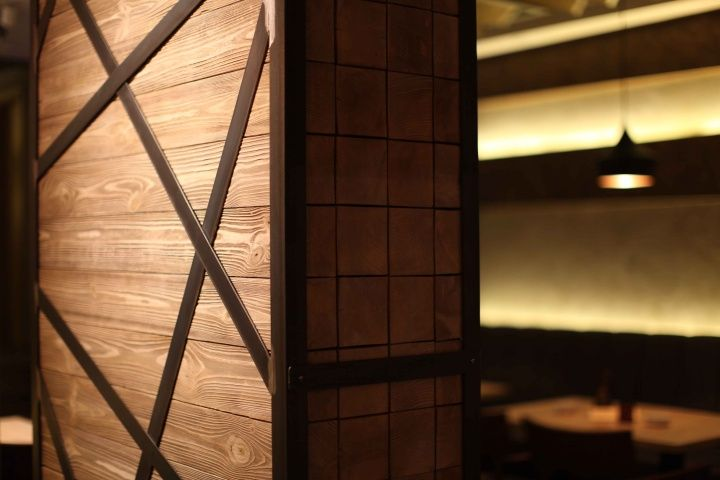 pine solid wood and rusty raw steel accents de gusto cafe restaurant by mika design - Light Hardwood Restaurant Decoration