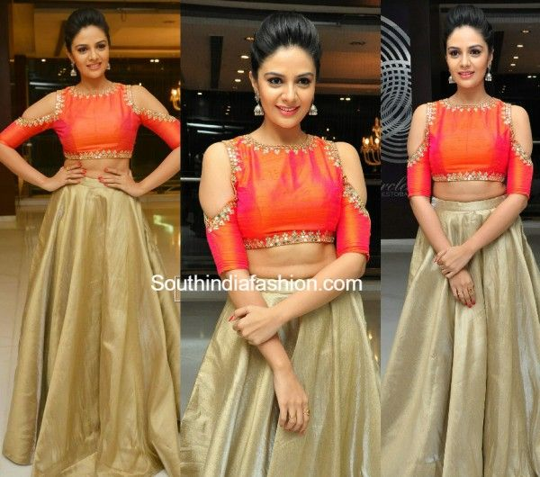 Sreemukhi in a long skirt and crop top photo | wedding wear ...
