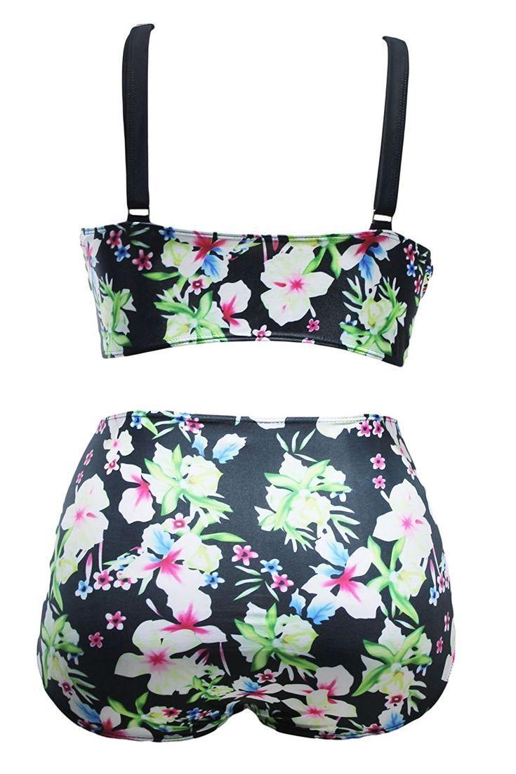 c54dbe4333 Women s Bikini Set Boho Tropical Floral High Waist Swimsuit Plus Size  Swimwear Newest - Floral - C8182I3WECA -  Bikini  Boho  C8182I3WECA  Floral   High ...