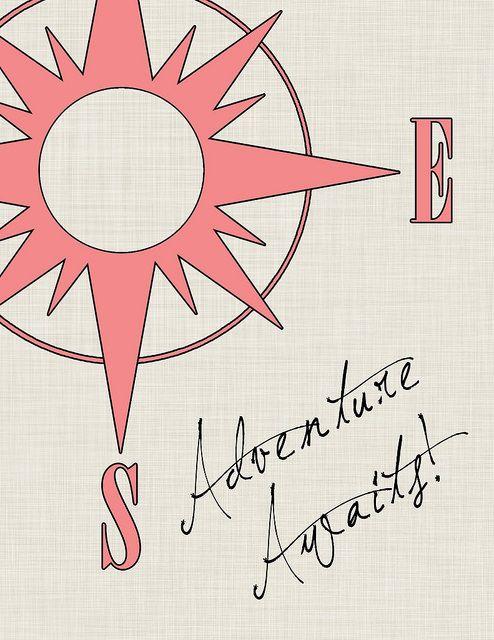 Adventure awaits compass rose printable