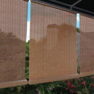 Tan Woodgrain Interior/Exterior Roll Up Patio Sun Shade   96 In. W X
