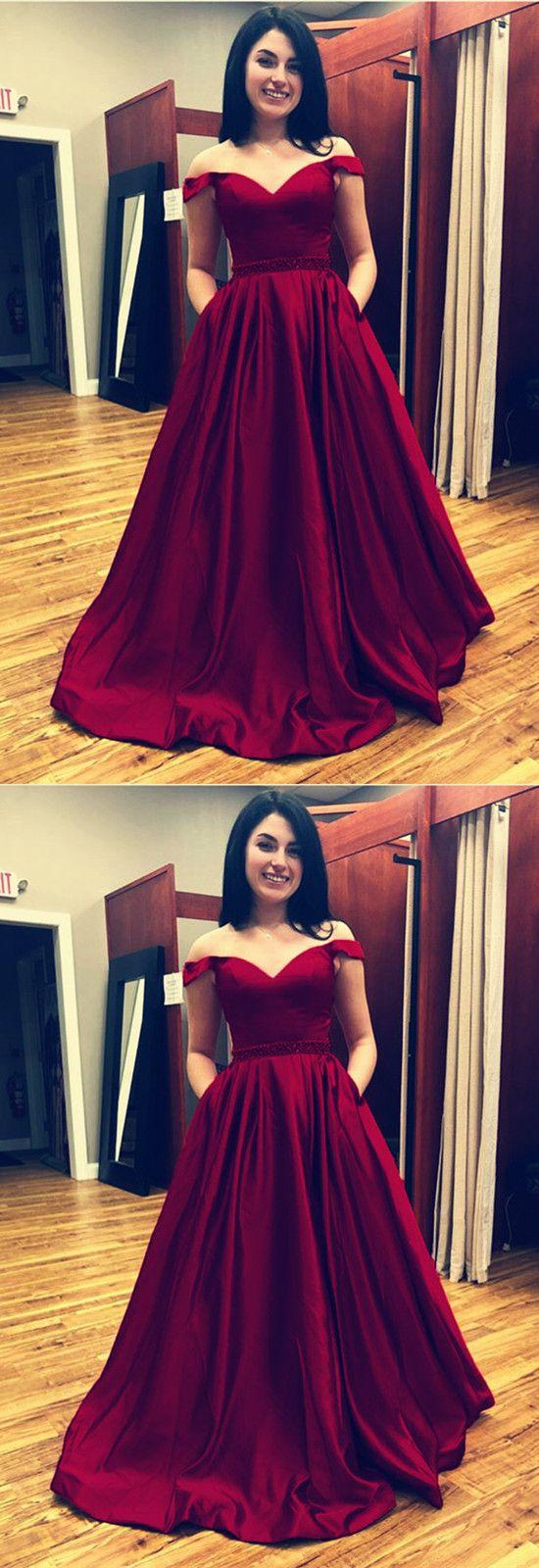Burgundy satin vneck long prom dresses off shoulder evening gowns