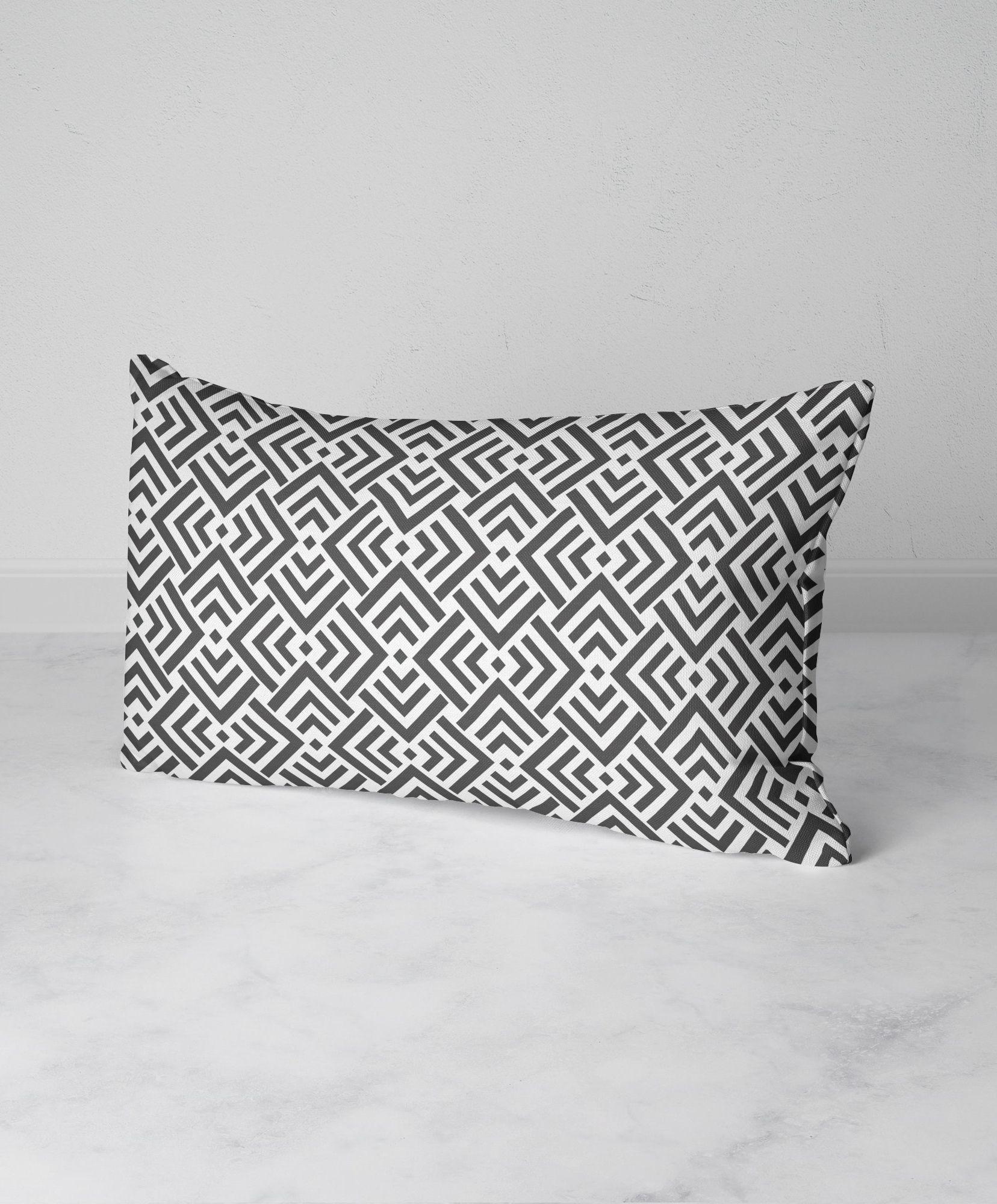 Gray Geometric Throw Pillow Rectangle Lumbar Pillow Triangle Pattern Accent Pillow 12x20 Faux Geometric Throw Pillows Throw Pillows Decorative Throw Pillows