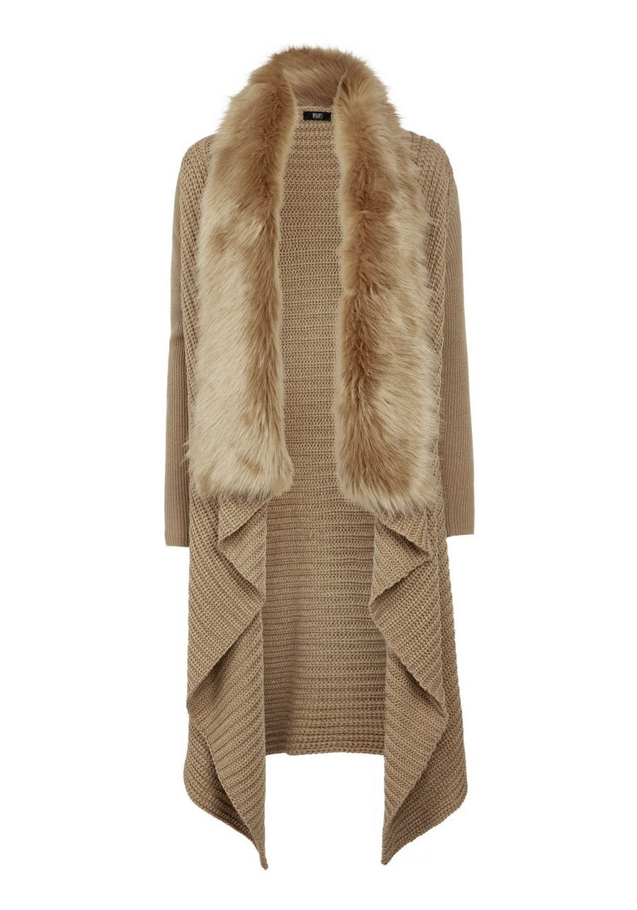 Clothing at Tesco | F&F Faux Fur Trim Waterfall Cardigan - Tan ...