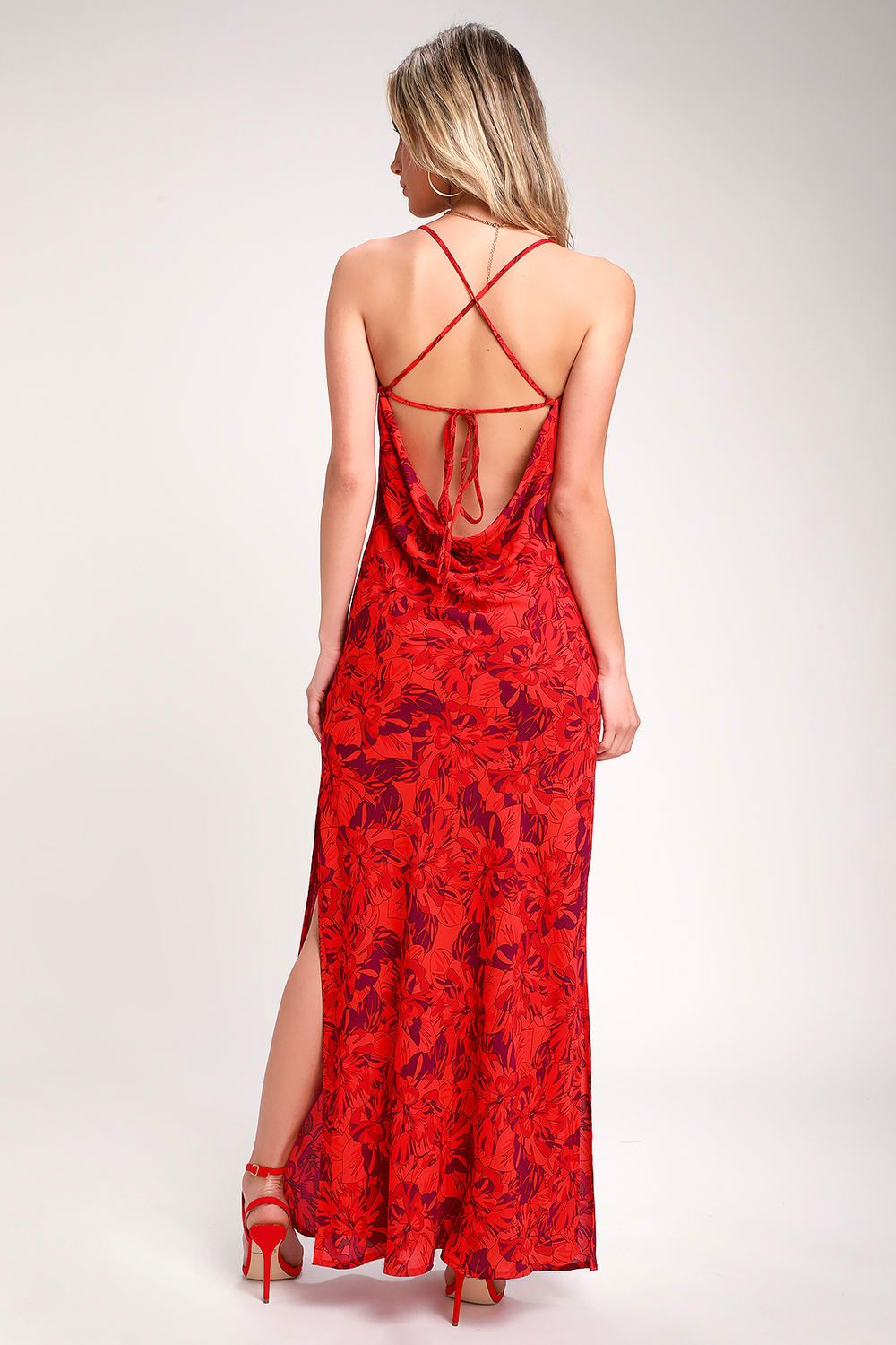 c616759fdf Sunset the Mood Red Multi Floral Print Lace-Up Maxi Dress in 2019 ...