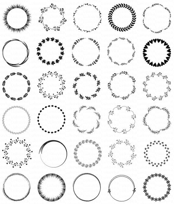Black digital frames Black Floral frames Clipart Black Circle frames Floral Frame scrapbook Wreath c