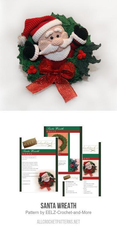 Santa Wreath crochet pattern by EELZ! Crochet & More | Navidad con ...