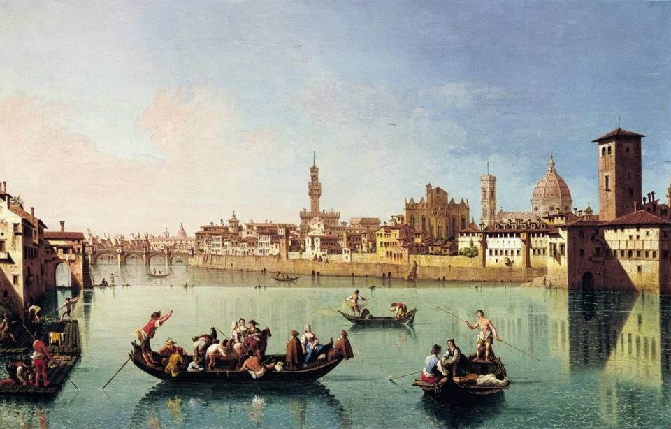 Giuseppe Zocchi - View af the Arno in Florence