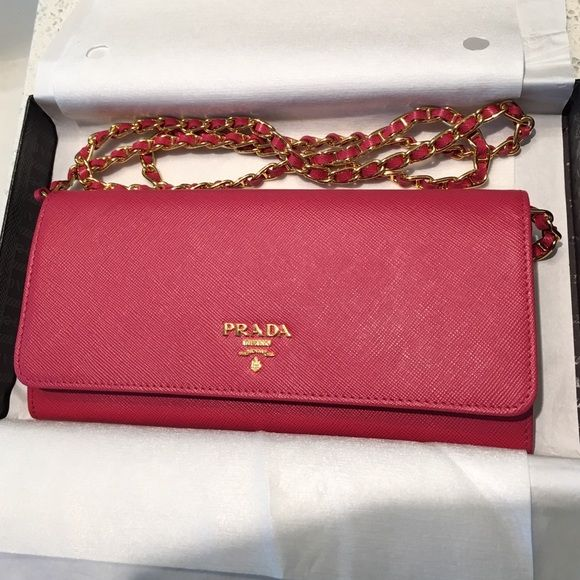 1c630b9255272c PRADA Saffiano Wallet on a Chain Color: Pink/Peonia. Brand New w/ Box.  Retails for $860 at Neiman Marcus. 100% Authentic - see photo of  authenticity card!!