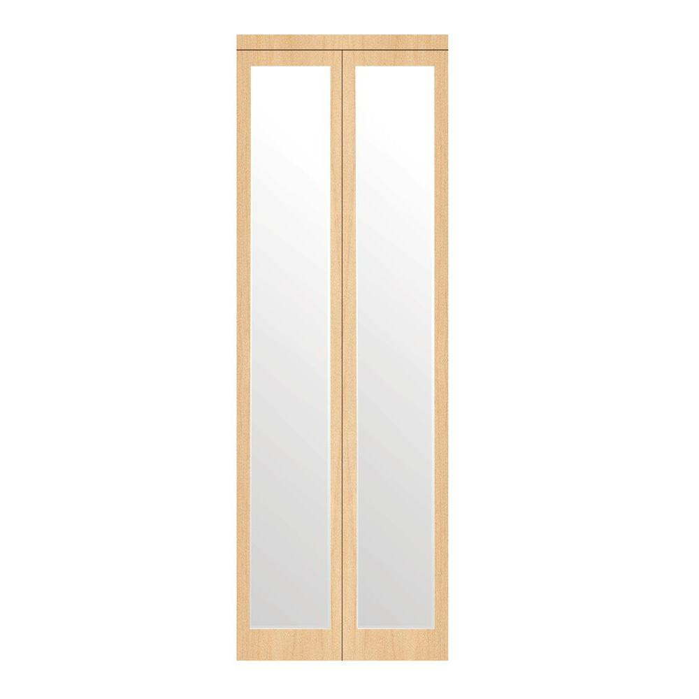 Impact Plus 30 In X 96 In Mir Mel Stain Grade Maple Mirror Solid Core Mdf Interior Closet Bi Fold Door With Matching Trim Mirror Closet Doors Doors Mirror Door