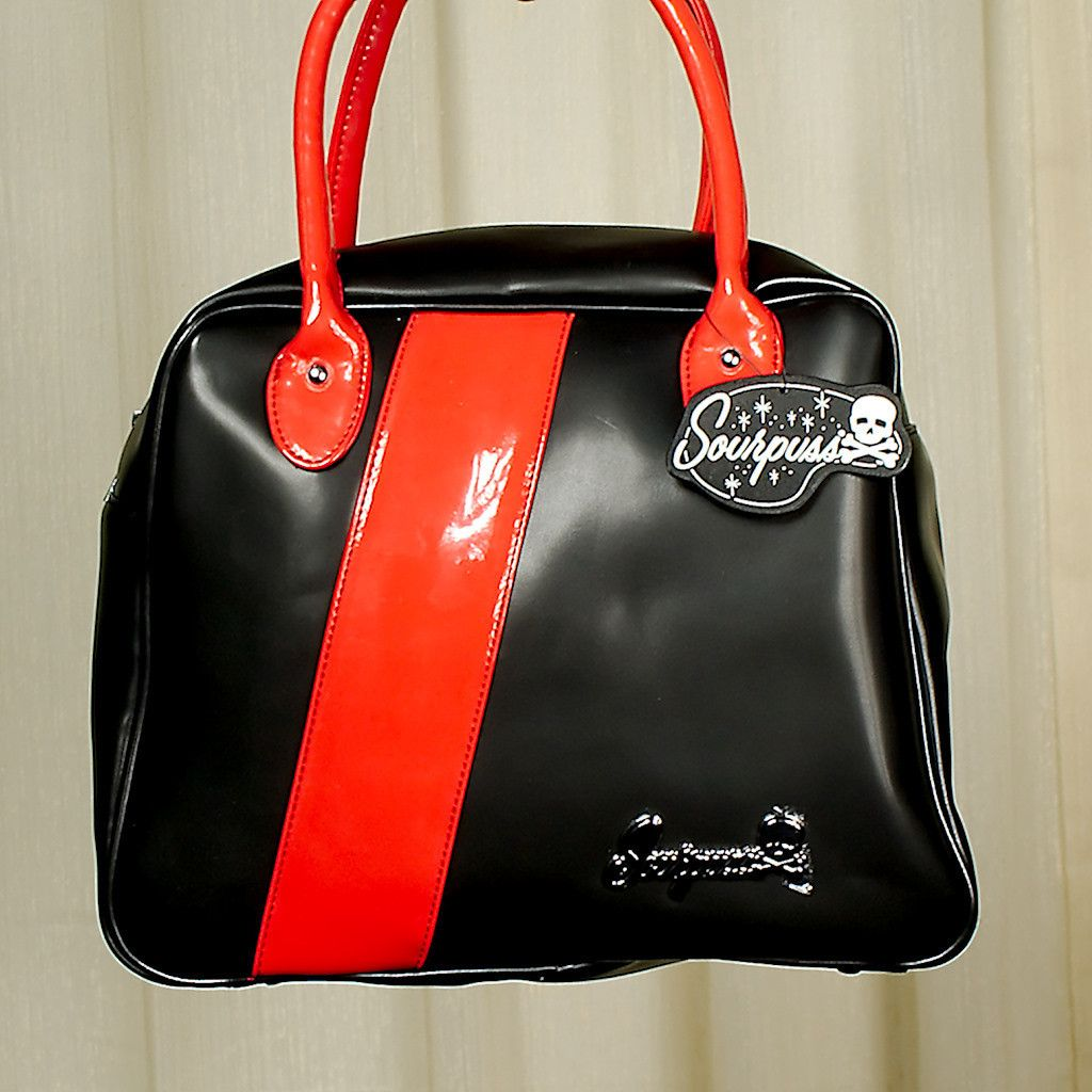 Sourpuss Clothing Fast Track Black Red Bowler Bag Bags Black And Red Purses And Bags