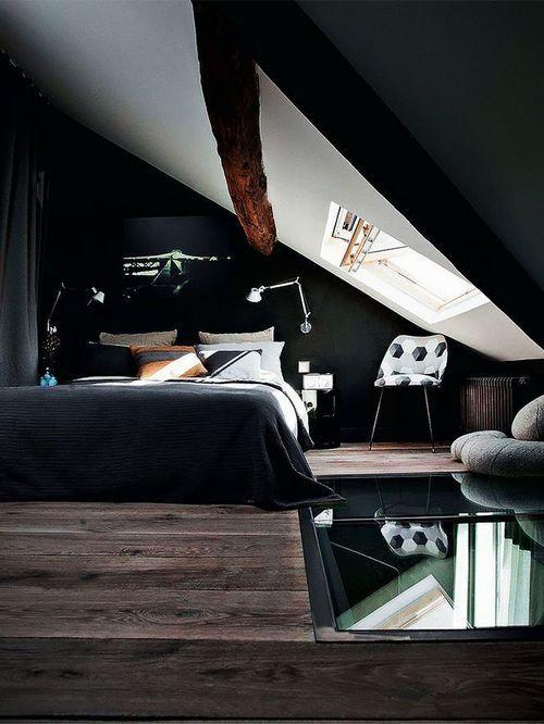 Black Attic Bedroom Attic Bedroom Decor Interior Architecture Design Bedroom Design