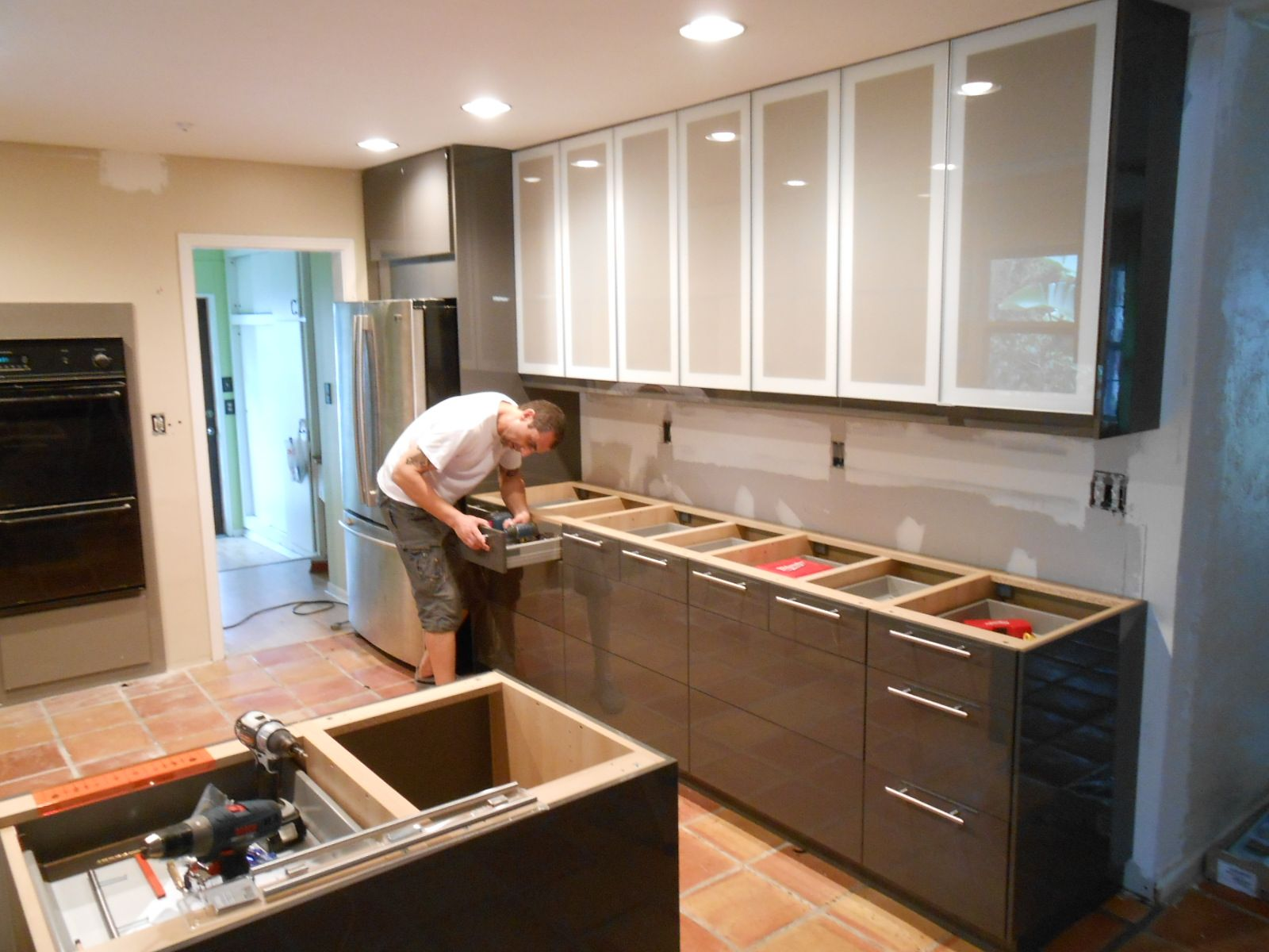 Build different types of cabinets in the kitchen for keeping the