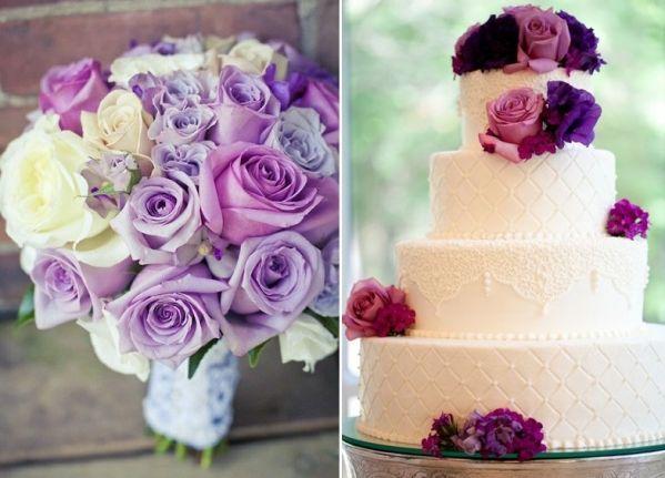 Tort I Bukiet W Jednym Stylu Rose Wedding Flowers