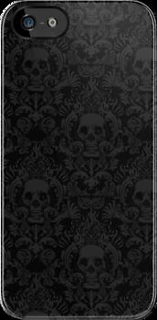 Skull Damask Wallpaper Iphone Case By Jimiyo Damask