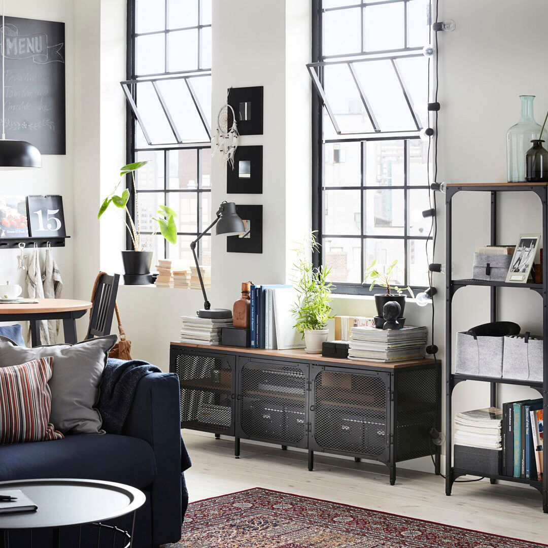 from ikeausa insta  industrial style living room ikea