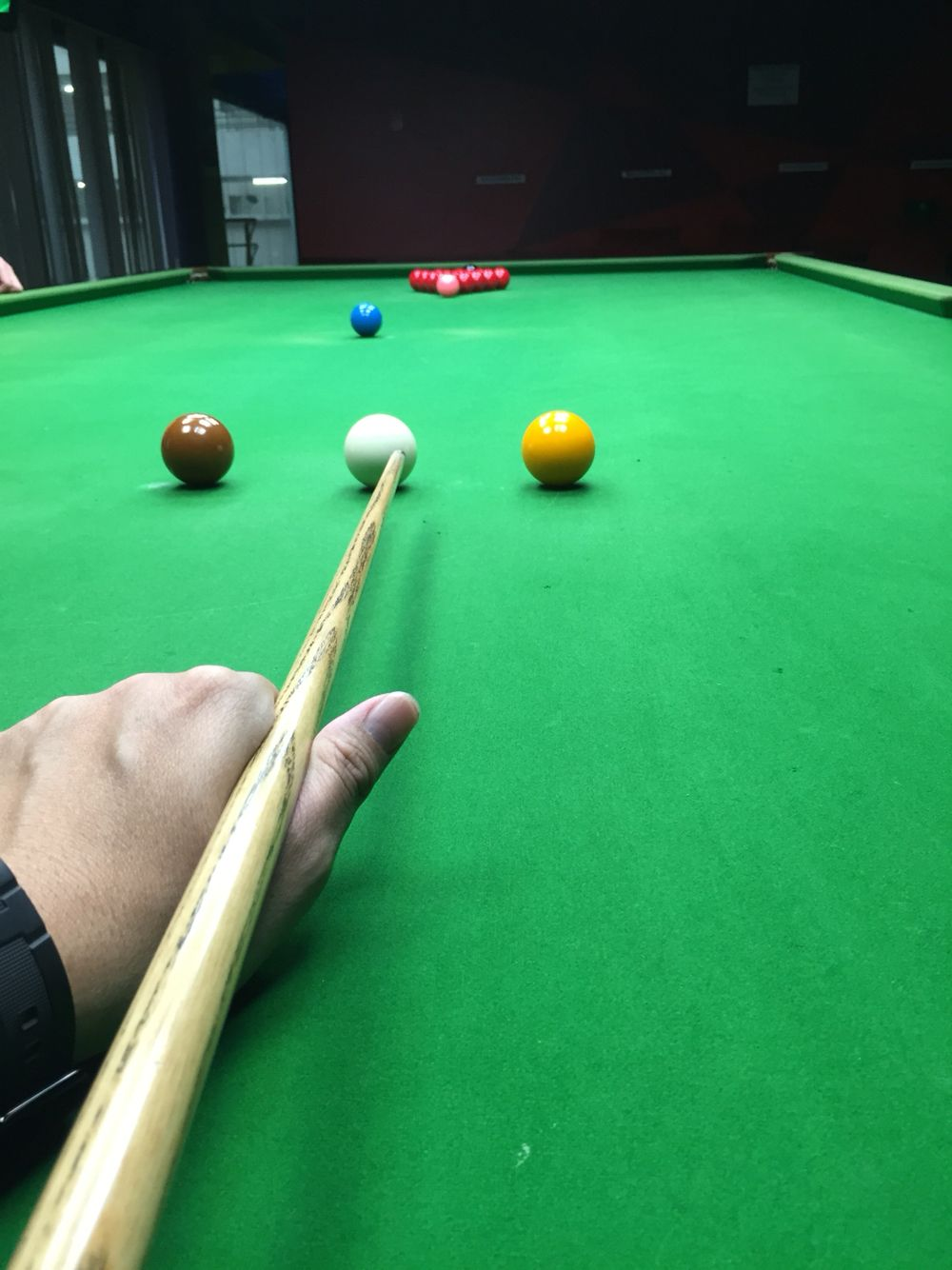 Getting ready to start my snooker practice Snooker