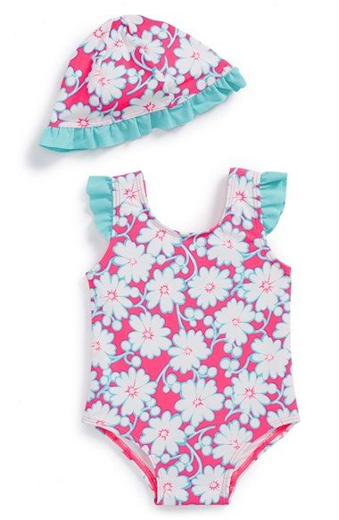 Free shipping and returns on Tucker + Tate One-Piece Swimsuit & Sun Hat (Baby Girls) at Nordstrom.com. Contrast ruffles trim the straps of a bold one-piece swimsuit that's paired with a matching sun hat to keep baby comfortable on sunny summer days.