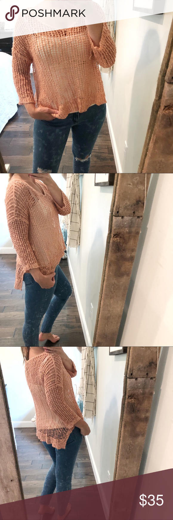 Paradise oversized dusty rose open knit sweater Paradise oversized dusty rose open knit sweater EUC Pet free smoke free organic home  5 Star Rated Seller Same day or at t...