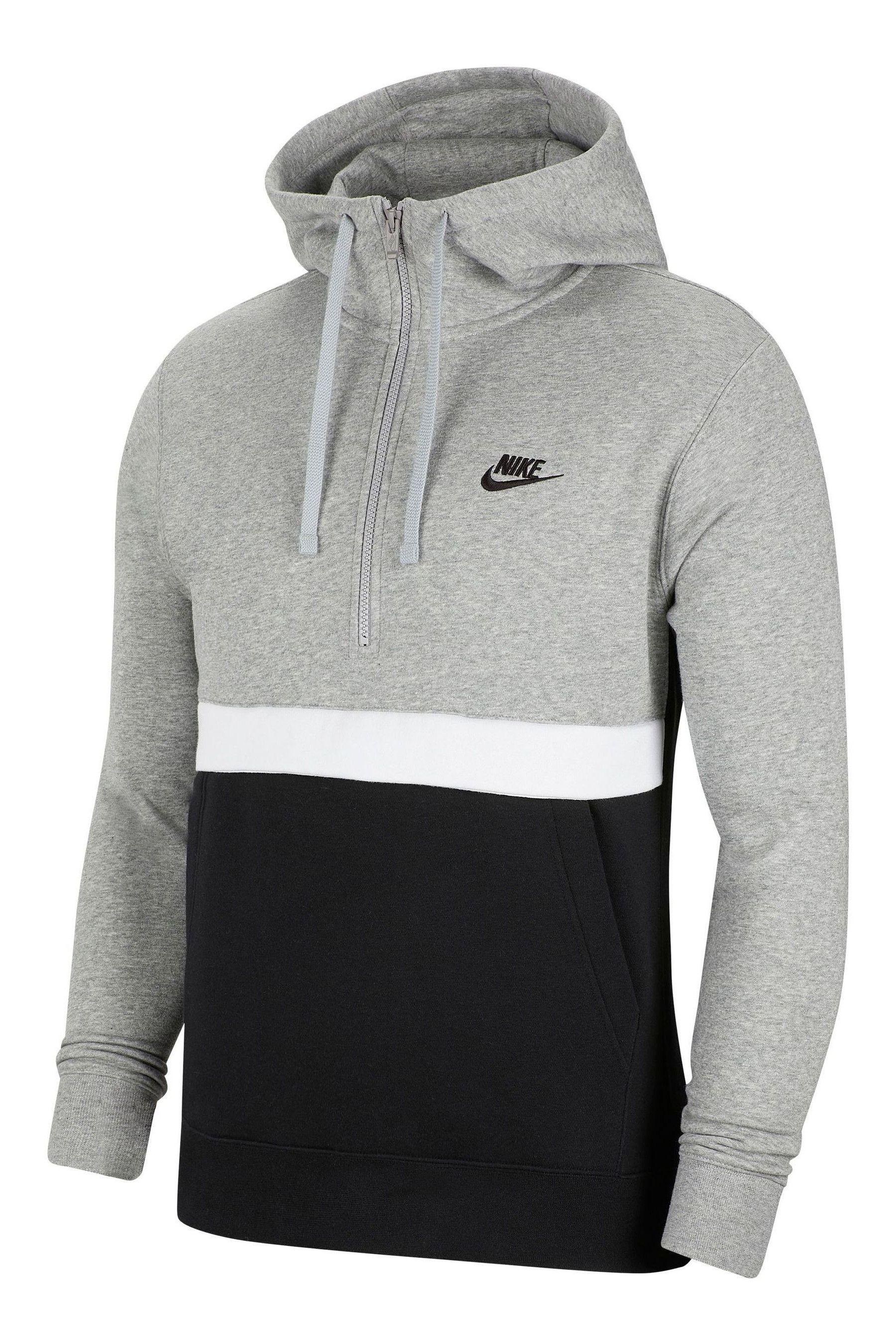 Mens Nike Club 1/4 Zip Hoody - Grey | Mens sweatshirts, Nike ...
