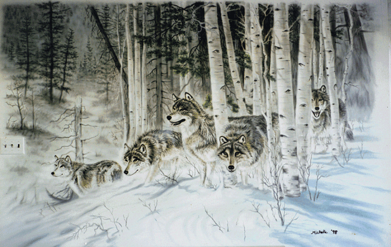 Large Image Of Airbrushed Wall Mural Wolves