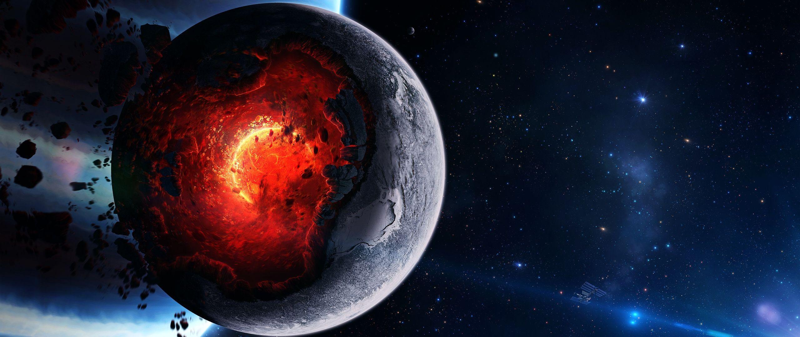 Download Wallpaper 2560x1080 Space Cataclysm Planet Art Explosion Asteroids Comets