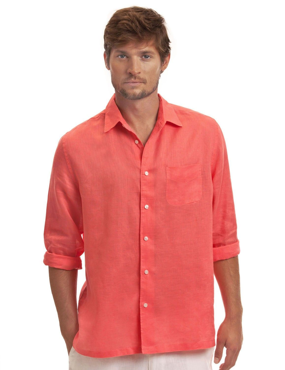 Coral classic linen shirt men 39 s coral linen shirt for Coral shirts for guys