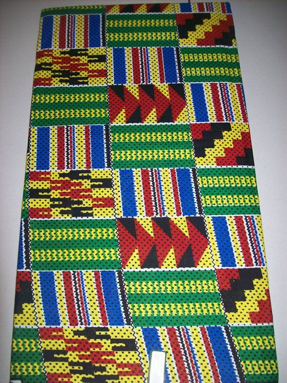 African Fabric Multicolor Green Blue Kente by tambocollection