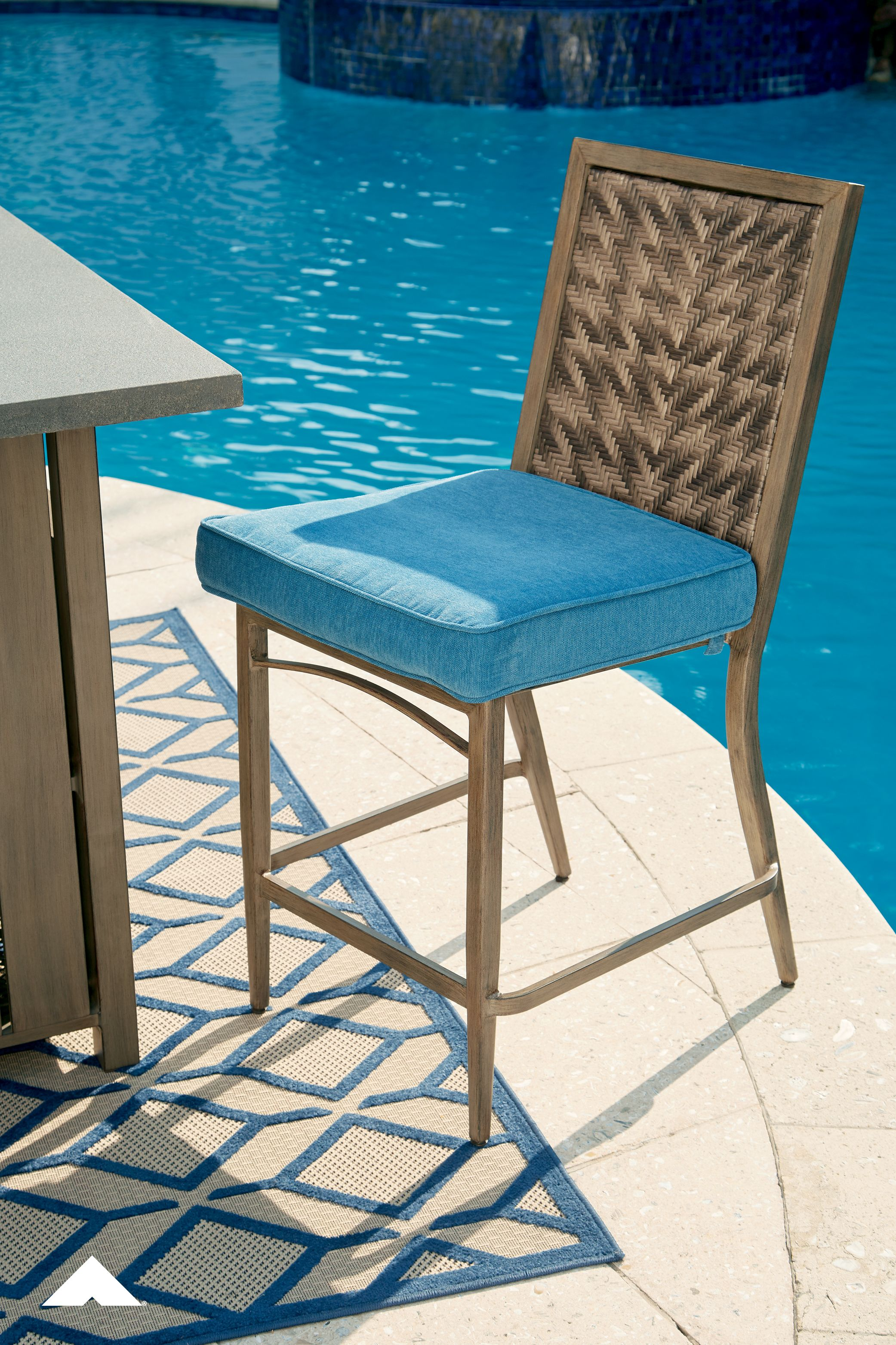 Partanna Blue And Beige Barstool With Cushion By Outdoor By Ashley