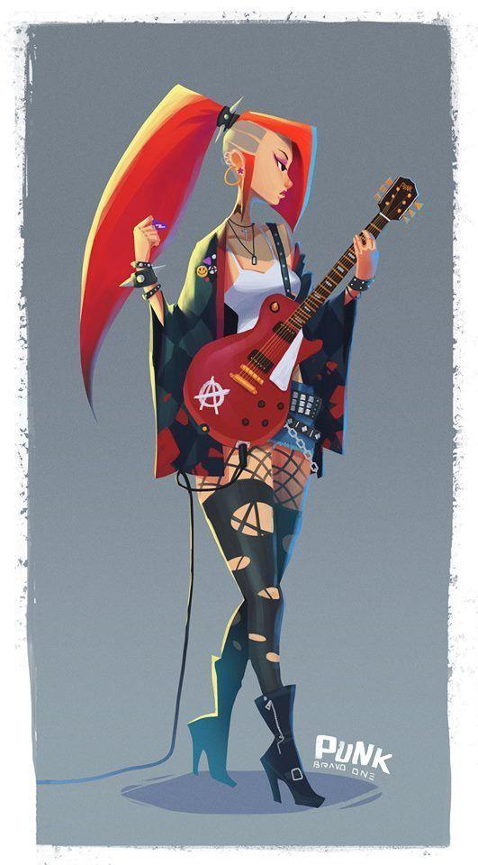 Défi de conception de personnages! Art par 王 王 • Thème de septembre: #Punks ...