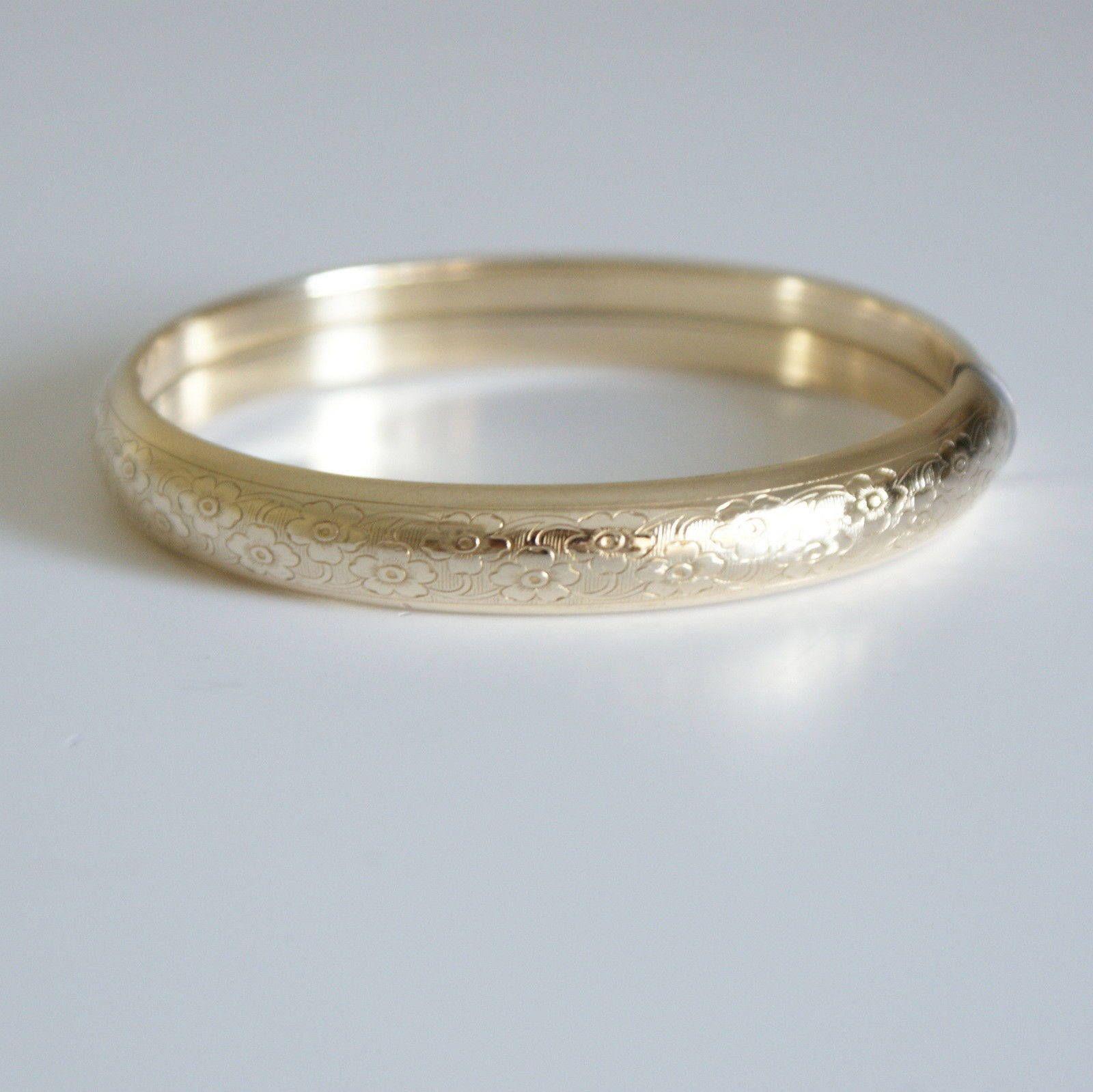 Antique Gold Filled early 1900s Bangle Bracelet Etched Edwardian Vintage