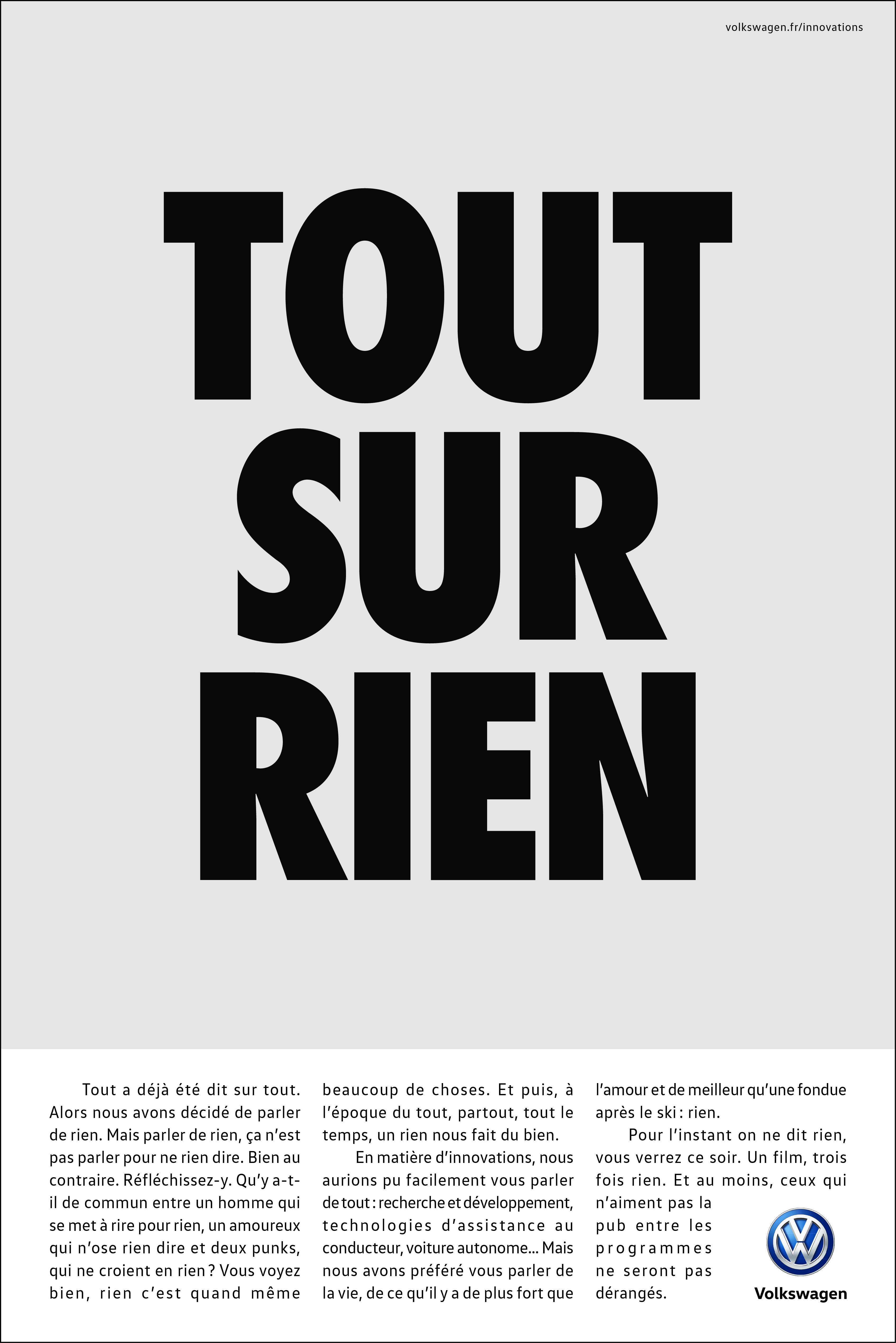 ff01b33c8 2017 - DDB Paris pour Volkswagen. RIEN. par Mickaël, Benoit et Alexander.