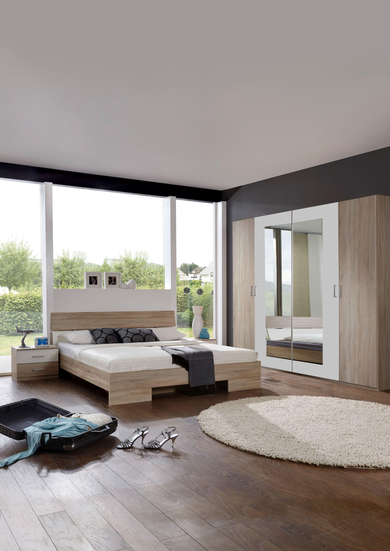 Schlafzimmer Mit Bett 180 X 200 Cm Eiche Sägerau