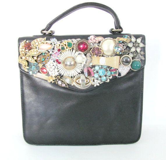 Upcycled Black Leather Purse - Vintage Upcycled Jewelry - Jewlery Mosaic Purse on Etsy, $84.50