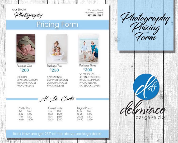 Photography Price List Template Pricing Guide Sell Sheet - sales sheet template