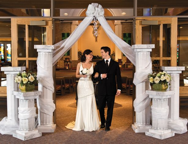 Oriental Trading Company Sells Cardboard Pillars Use Lace Draping Would Be Better As Plain Wedding ColumnsWedding CeremoniesChurch