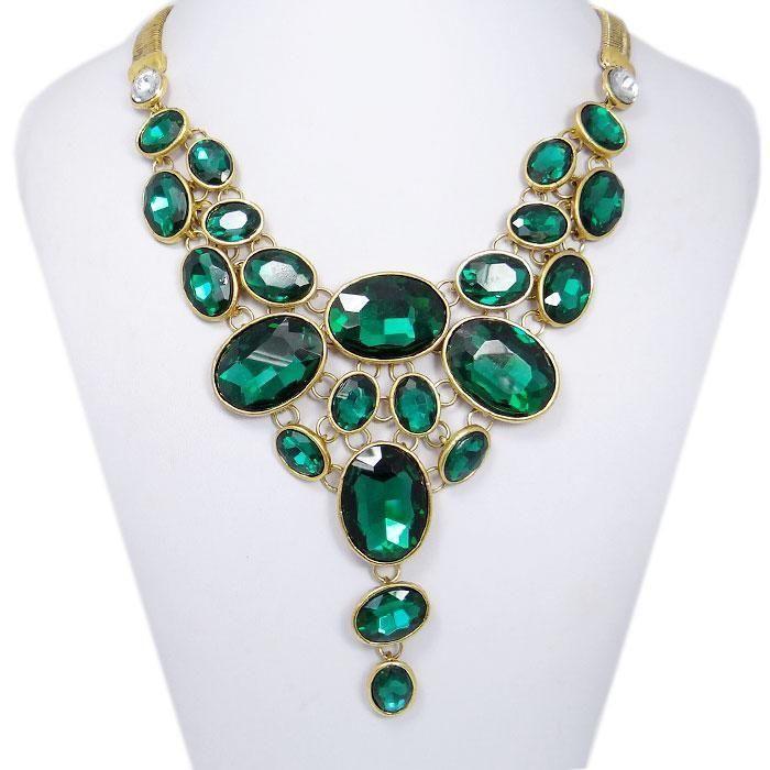 Vintage Gold Tone Oval Bib Bubble Chunky Necklace Rhinestone Crystal Green E541…