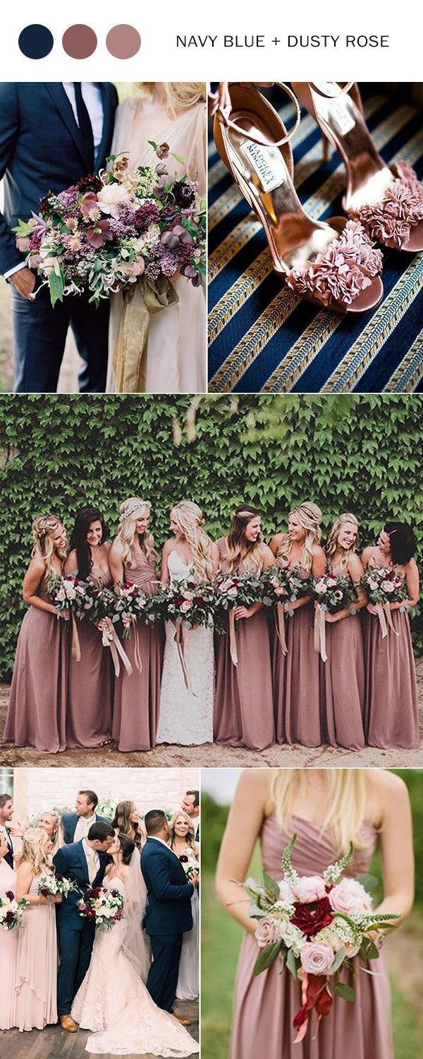Top 10 wedding color ideas for 2018 trends dusty rose for Navy dress for fall wedding