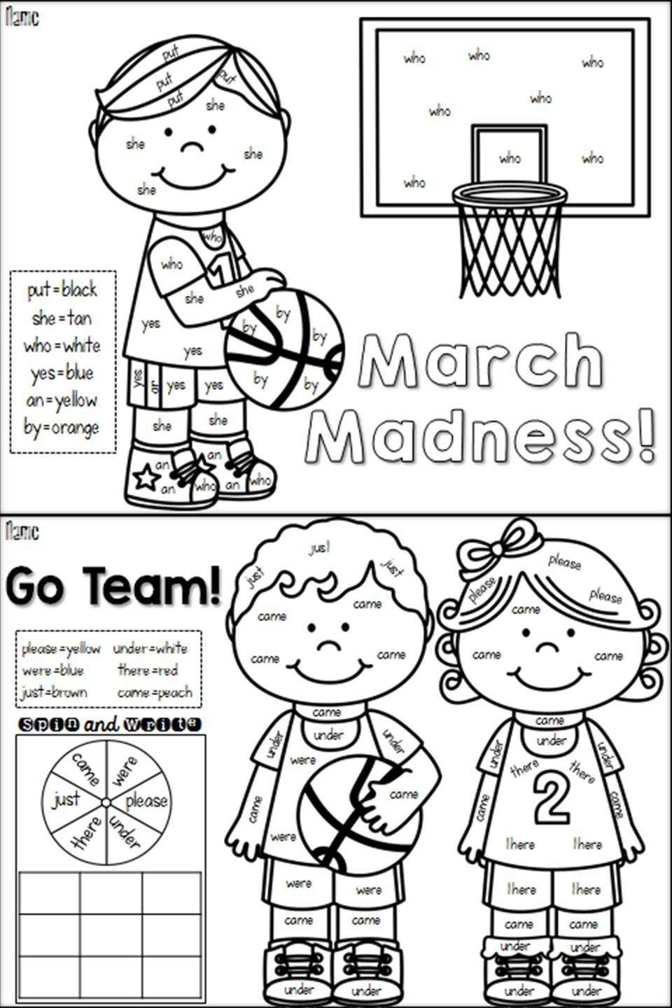 March Color by Sight Word Sight words, Teaching