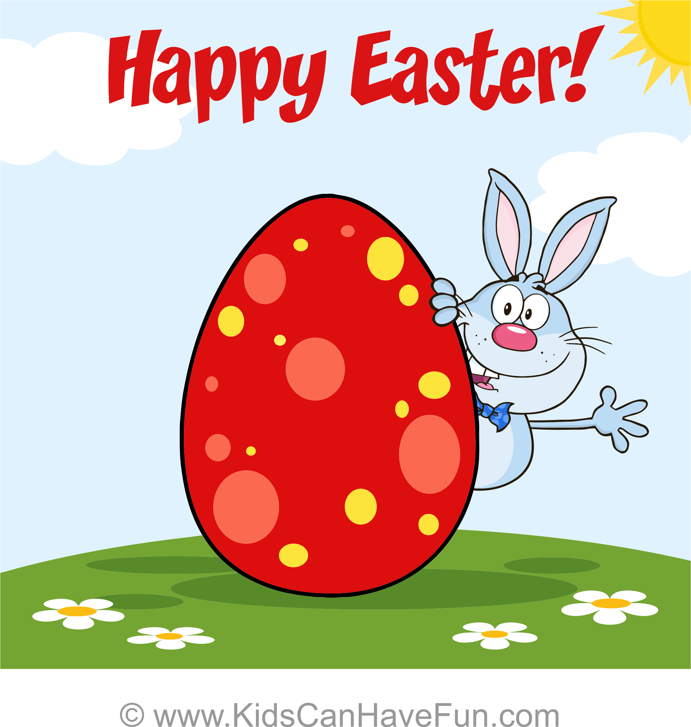 Free Happy Easter Bunny And Egg Greeting Card 1 Blank
