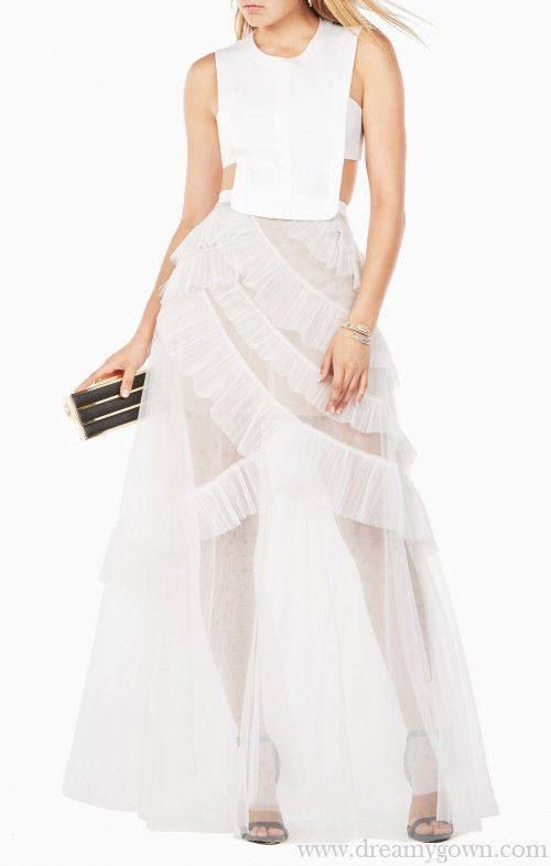 354d95c71409 2017 Avalon Sheer Cutout BCBG White Tulle Prom Dress Sexy | Clothes ...