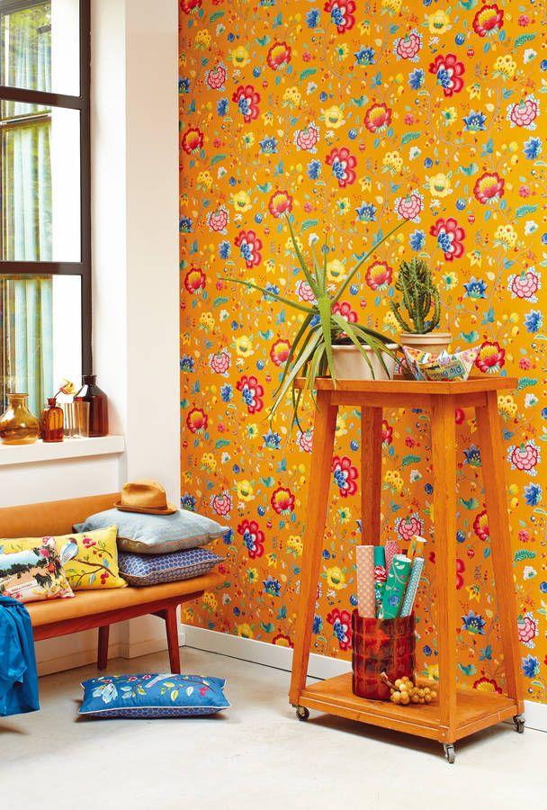 Yellow Floral Fancy Wallpaper By Pip Studio