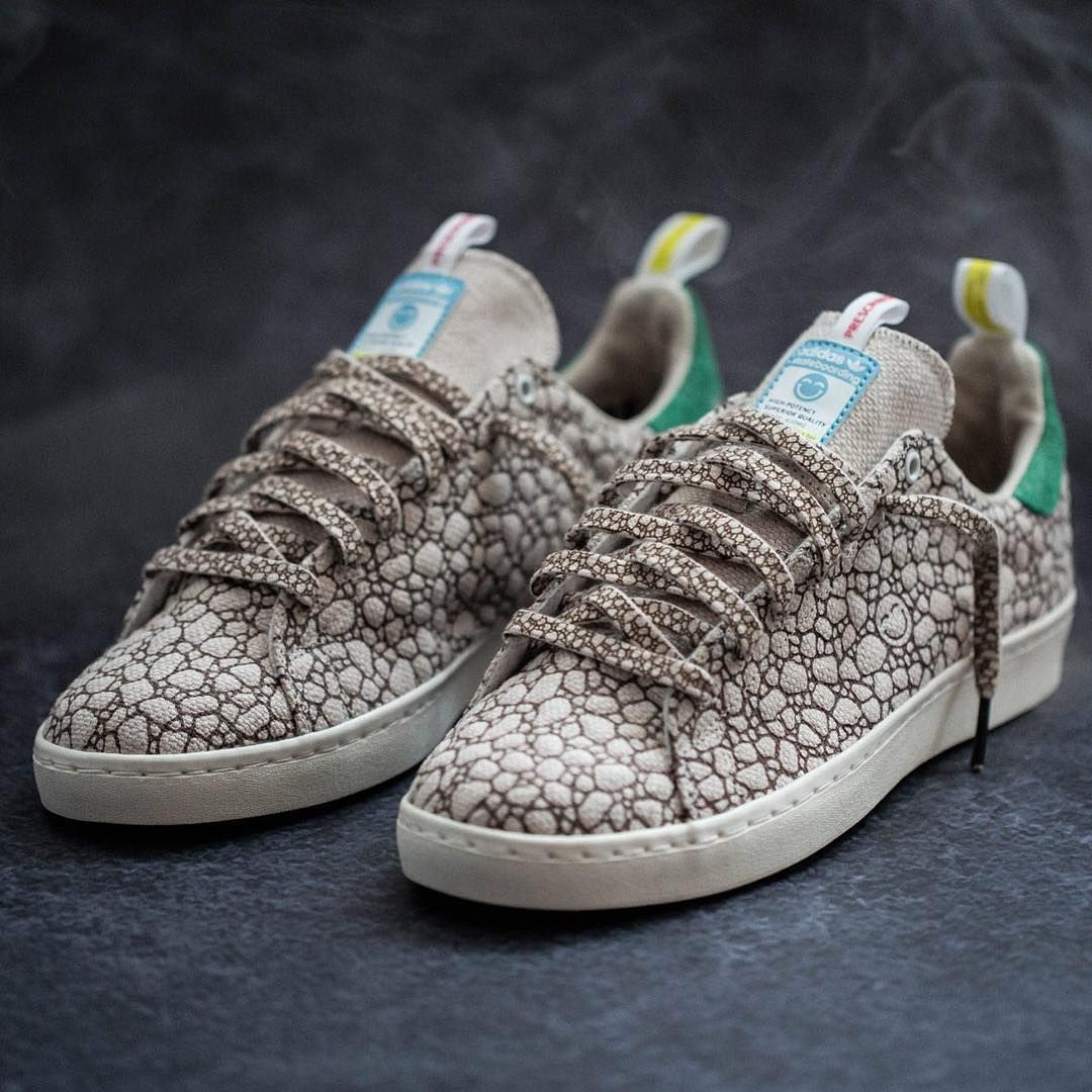 California streetwear store Bait celebrates with Happy, a marijuana-themed  Stan Smith Vulc. The shoe has a hemp upper with a stoned out pattern, heel.