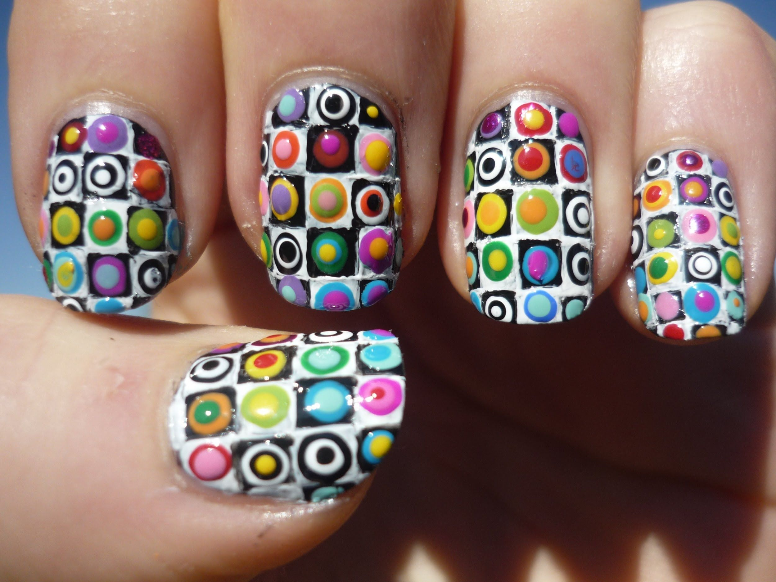 Rainbow Checkered Pattern Nail Art Tutorial | Nail | Pinterest ...