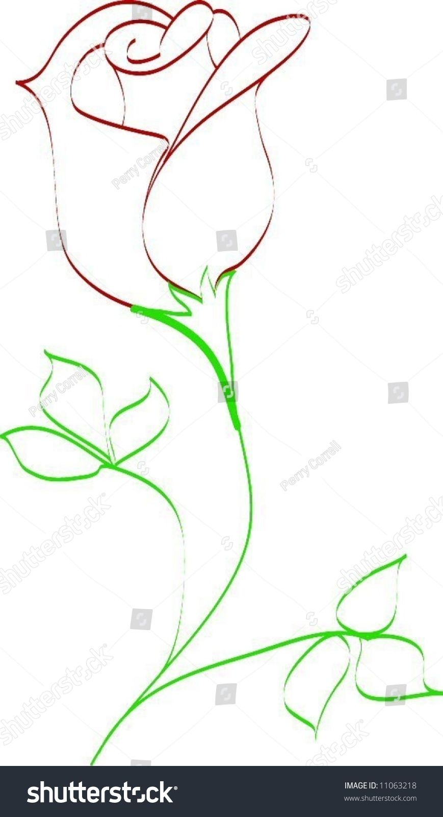 Simple Line Drawing Of Rose Bud Everything In 2019
