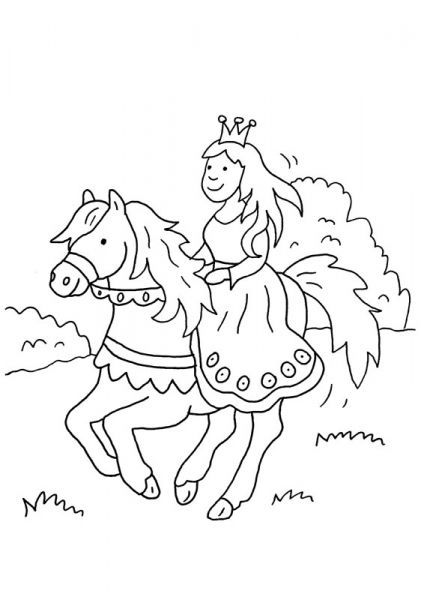 Coloriage à Imprimer La Princesse Sur Son Cheval