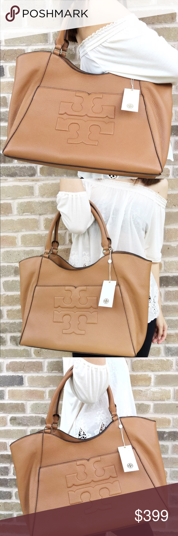 Tory Burch Bombe Large east West Tote bark tan Boutique  db1f5afc88ae5