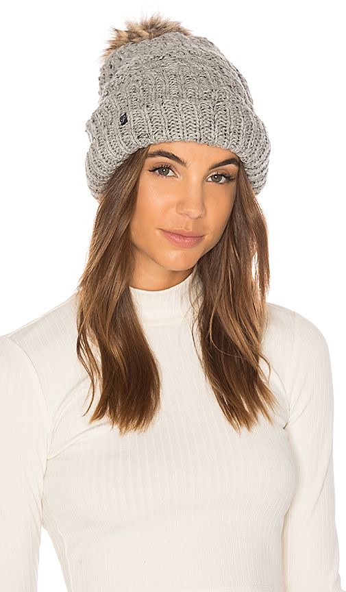 e8473f66 Fleece Lined Chunky Knit Beanie With Faux Fur Pom in Speckled Heather