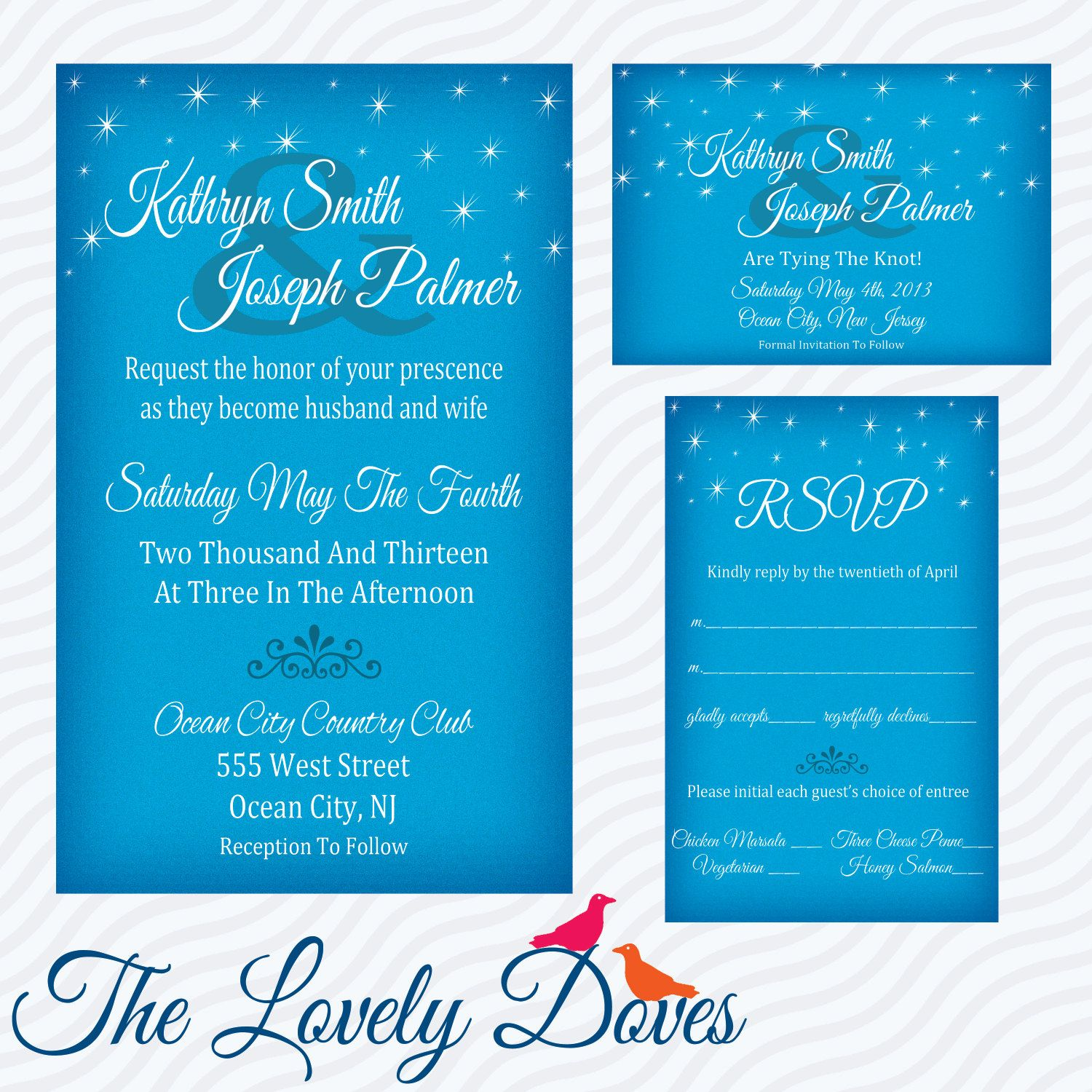 Starry Night Wedding Invitation Set By Thelovelydoves On Etsy